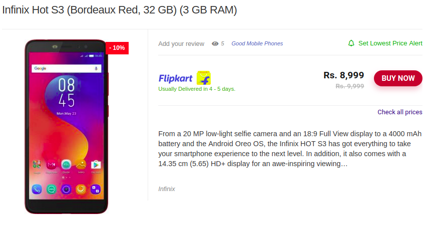 Infinix Hot S3 (Bordeaux Red, 32 GB) (3 GB RAM)-LeloDiscount