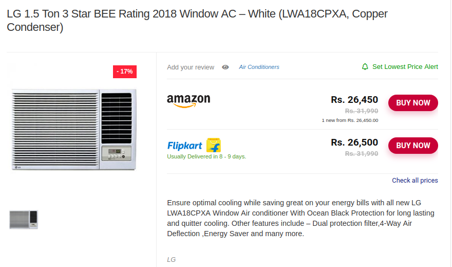 c77319152 LG 1.5 Ton 3 Star BEE Rating 2018 Window AC - White (LWA18CPXA ...