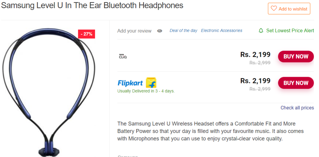 Samsung Level U In The Ear Bluetooth Headphones Lelo Discount