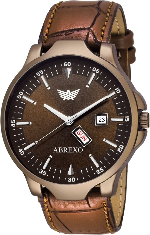 Abrexo Abx2079-BR Brown Dail Designer Genuine Leather Strap Day & Date Watch – For Men
