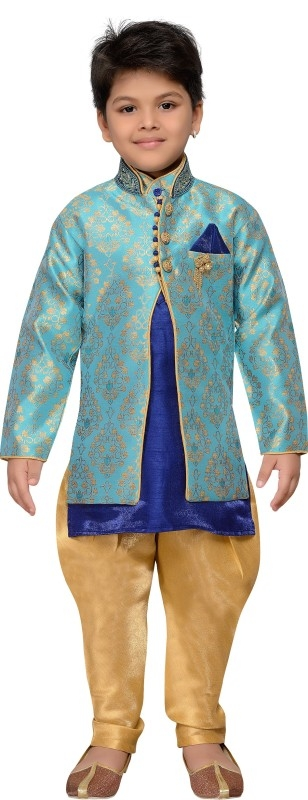 AJ Dezines Boys Festive & Party Sherwani and Churidar Set  (Blue Pack of 1)
