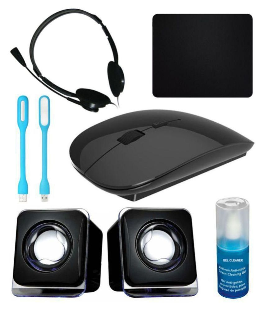 Anwesha Wireless Sleek Mouse 7in1 Combo with Headphone, 2 USB Light, Mouse Pad, Gel Cleaner & USB Powered Mini