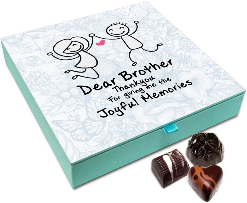 Chocholik Rakhi Gift – Hey Brother Thank You For Joyful Memories Chocolate Box For Brother / Sister – 9pc Truffles (108 g)