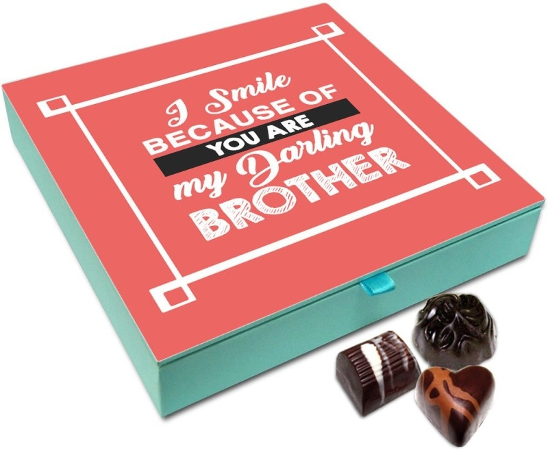Chocholik Rakhi Gift – I Smile A Lot Because Of My Brother Chocolate Box For Brother / Sister – 9pc Truffles (108 g)