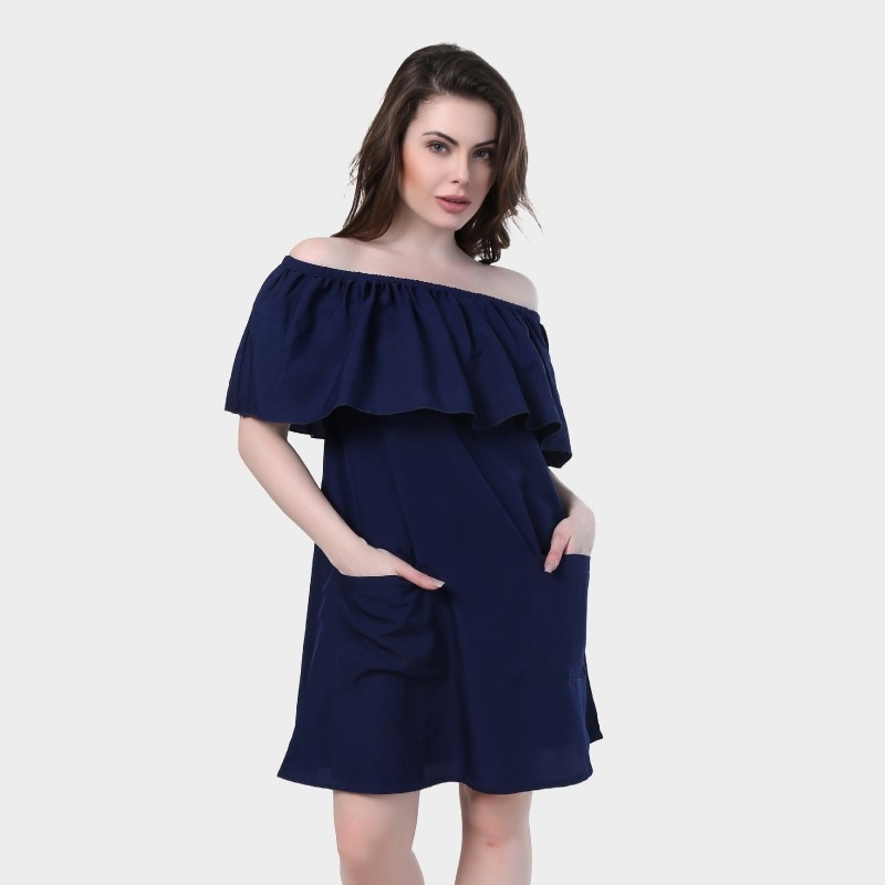 Crease & Clips Women's Layered Dark Blue Dress