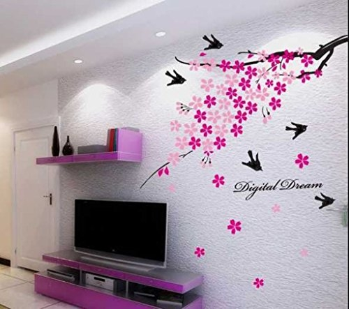 Decals Design 'Flower Branch with Birds' Wall Sticker (PVC Vinyl, 50 cm x 70 cm)