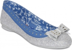 DISNEY PRINCESS Girls Slip on Ballerinas  (Silver)