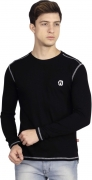 Fanideaz Solid Men's Round Neck Black T-Shirt