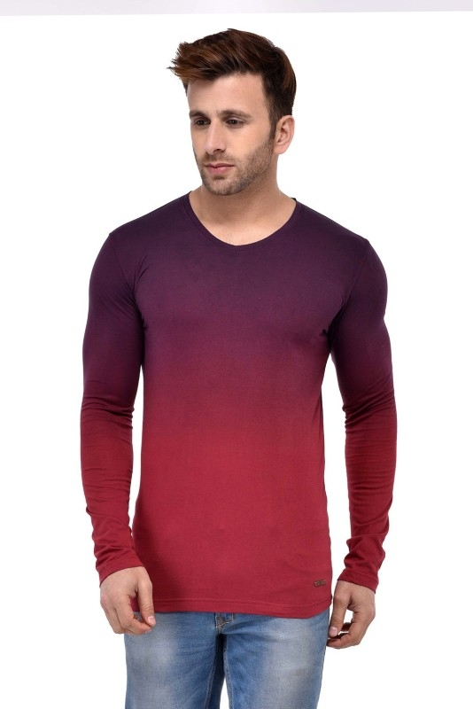 GESPO Solid Men's V-neck Multicolor T-Shirt