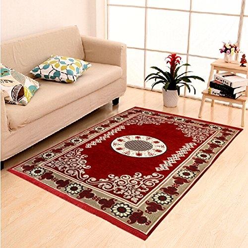 Home Elite Ethnic Velvet Touch Abstract Chenille Carpet – 55″x80″, Maroon