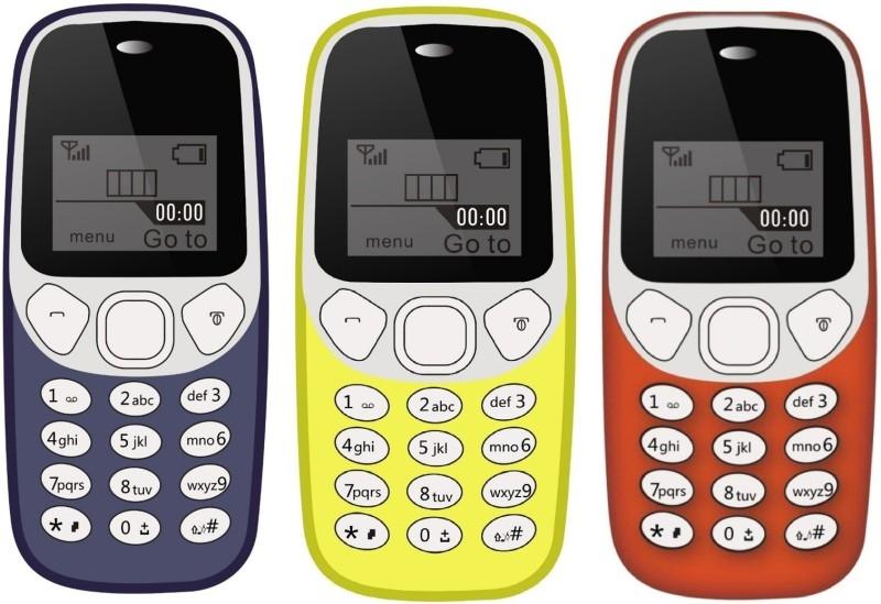 I Kall K71 Pack of Three Mobile  (Dark Blue , Sky Blue & Red)