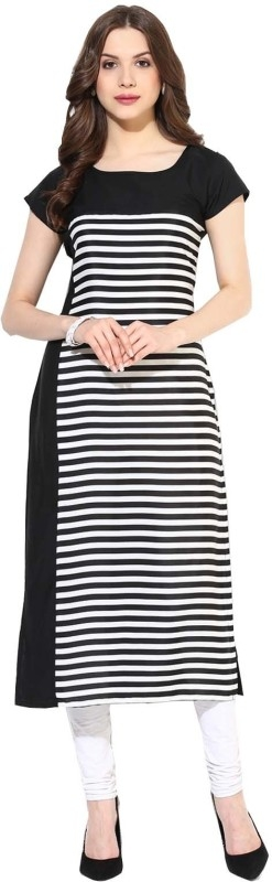 Krapal Women's Striped Straight Kurta  (Black)