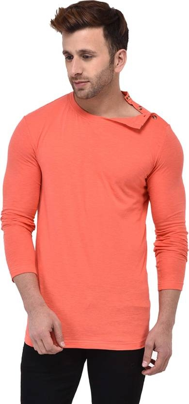 GESPO Solid Men's Round Neck Orange T-Shirt