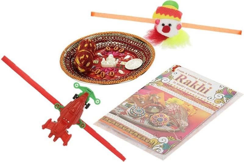 Little India Designer Rakhi (1 Pooja Thali,2 Fancy Rakhi,2 Kids Rakhi,1 Pooja Coin,1 Greeting Card)