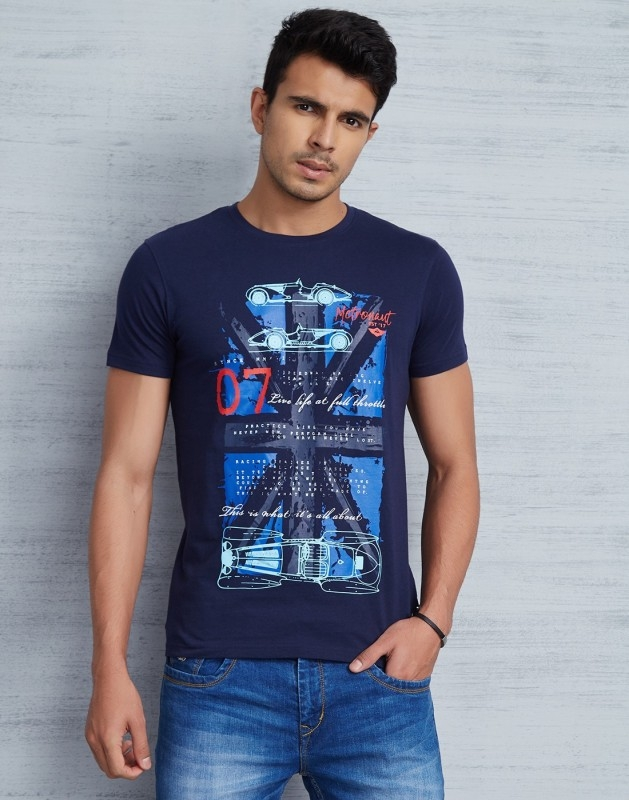 Metronaut Printed Men Round Neck Dark Blue T-Shirt