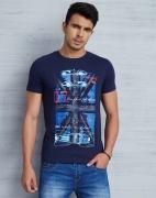 Metronaut Printed Men Round Neck Dark Blue T-Shirt