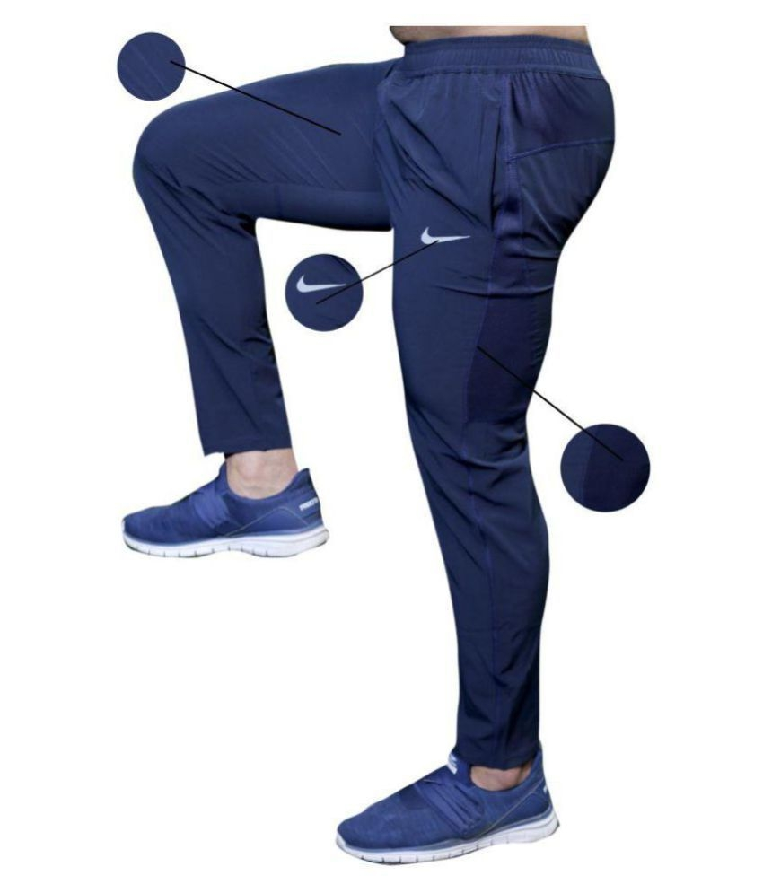 Nike Blue Lycra Trackpants Dryfit