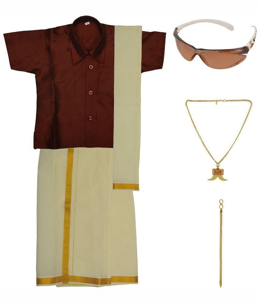 Preethi Dresses Maroon Silk Dhoti Kurta Set with Agnivastra, Bracelet, Pendant and Sunglasses