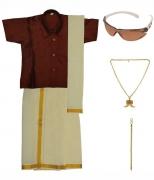 Preethi Dresses Maroon Silk Dhoti Kurta Set with Agnivastra, Bracelet, Pendant and Sunglasses