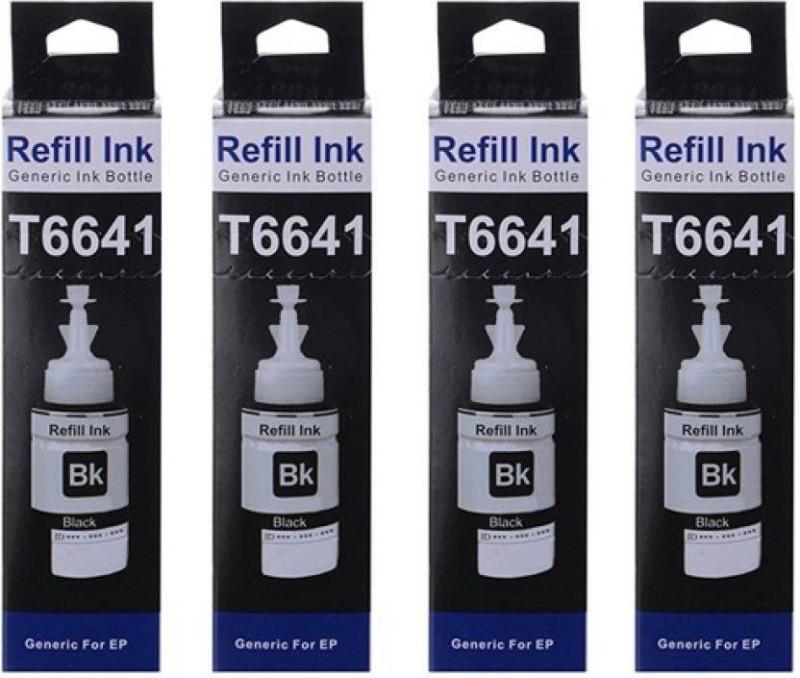 S P EPSON T6641, T6642, T6643, T6644 -BK, C, M,Y for Epson L100 / L110 / L130 / L200 / L210 / L220 / L300 / L310 / L350 / L355 / L360 / L365 / L455 / L550 / L555 / L565 / L1300 printers Multi Color Ink  (Black)