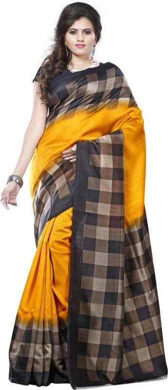 Saara Solid, Geometric Print, Printed Daily Wear Cotton, Silk Saree  (Yellow)