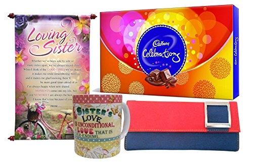 Saugat Traders Gift for Sister – Scroll Card, Coffee Mug, Cadbury Celebration & Women's Wallet