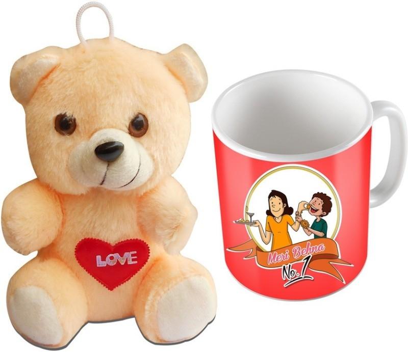 SKY TRENDS Special Raksha bandhan Gifts For Sister (Design015) Mug, Soft Toy Gift Set