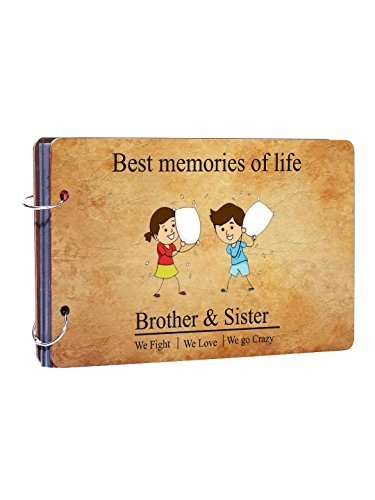 Studio Shubham rakshabandhan Gifts/Best Brother/Best Sister Gifts Wooden Photo Album(26cmx16cmx4cm) AP-8
