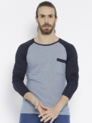 Teesort Striped Men's Round Neck Blue T-Shirt