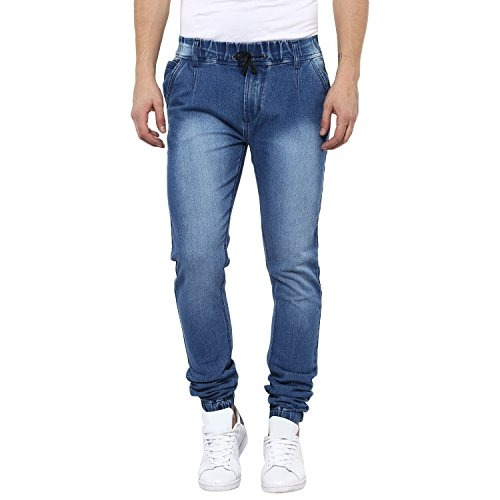 Urbano Fashion Men's Light Blue Slim Fit Stretch Jogger Jeans