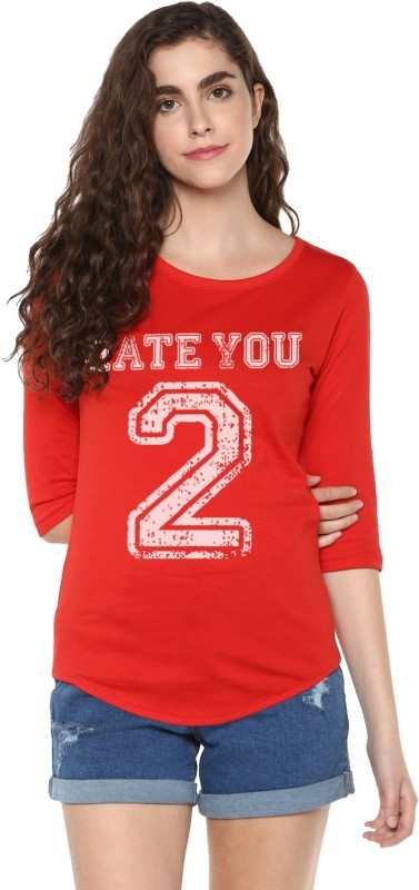 Young Trendz Graphic Print Women's Round Neck Red T-Shirt